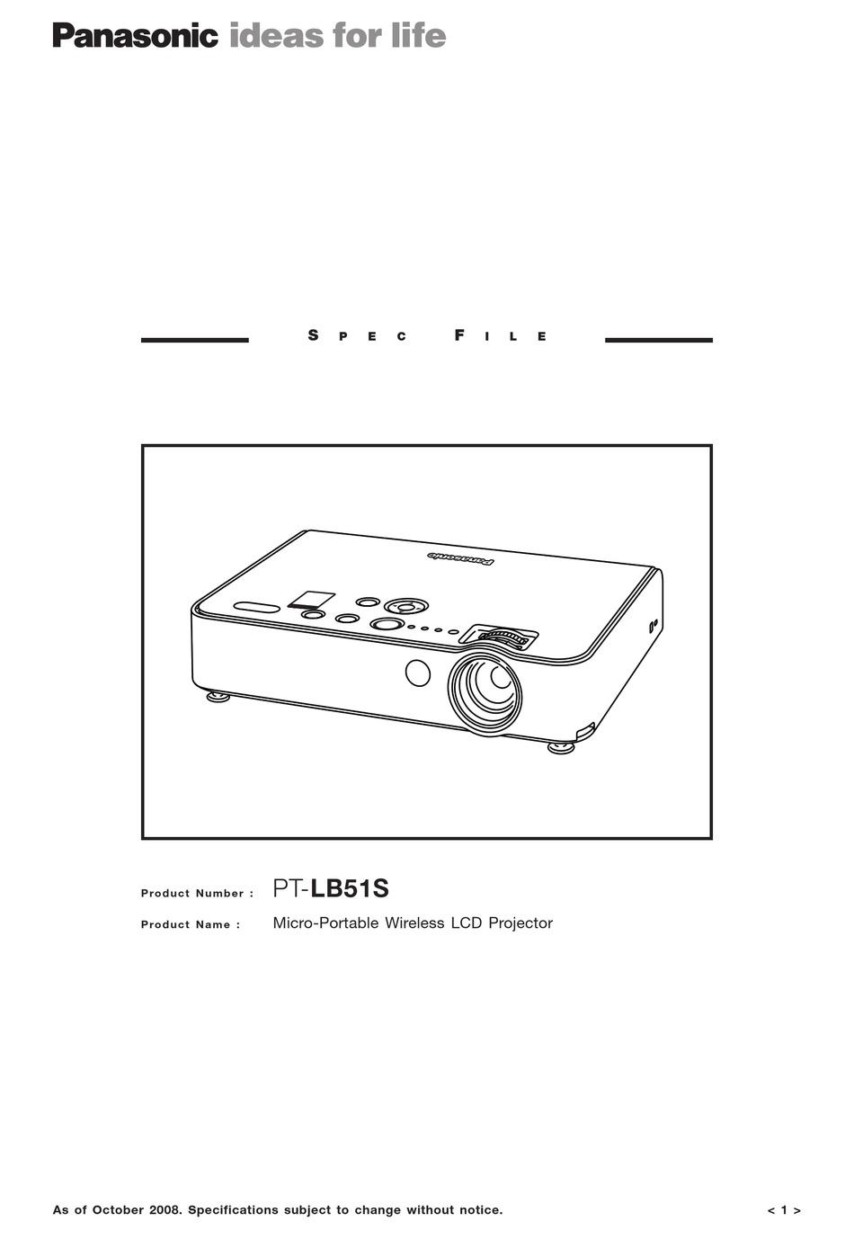 Panasonic Pt Lb51s Specifications Pdf Download Manualslib
