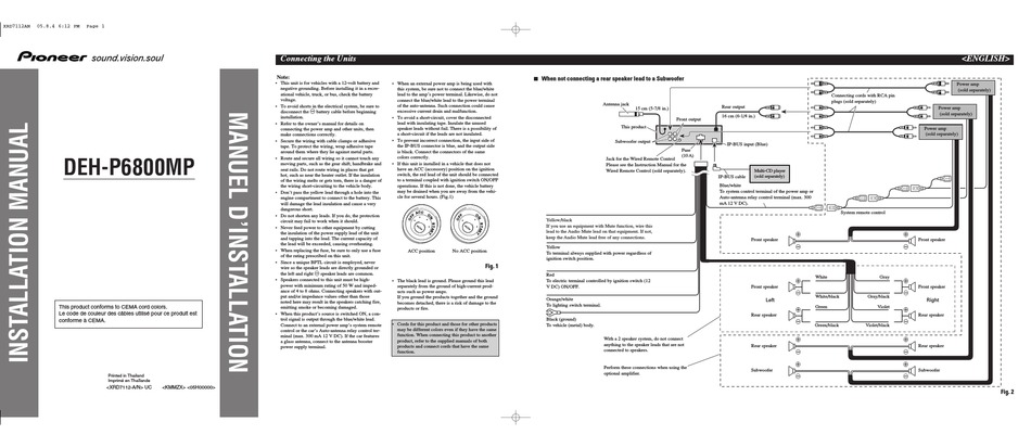 PIONEER DEH P6800MP INSTALLATION MANUAL Pdf Download   ManualsLib   Wiring Mp Diagram Radio Deh P2900      ManualsLib