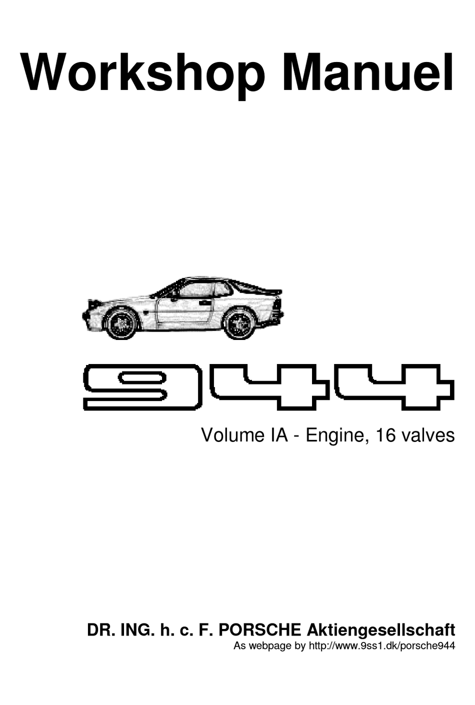 Porsche 944 Workshop Manual Pdf Download Manualslib