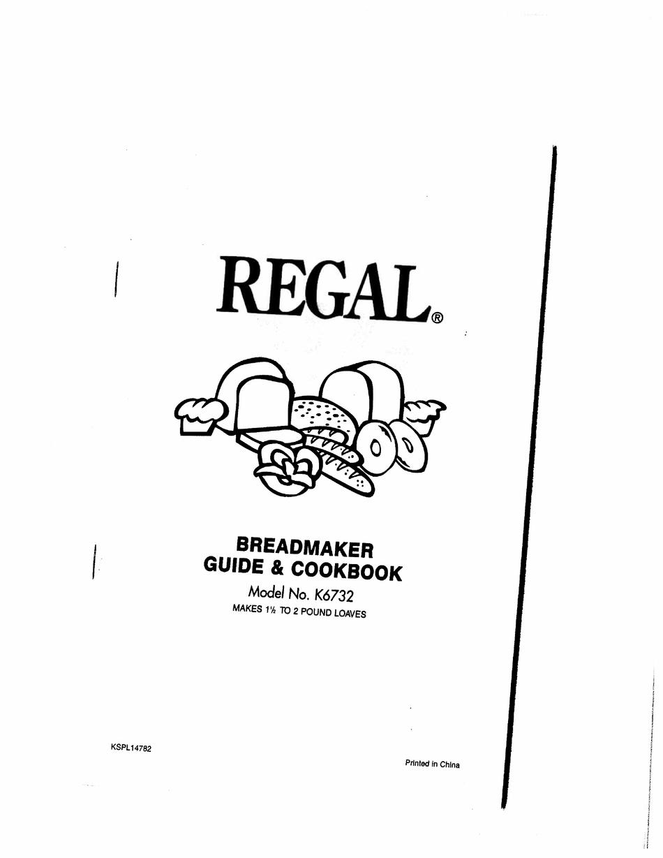 REGAL K12 MANUAL & COOKBOOK Pdf Download   ManualsLib