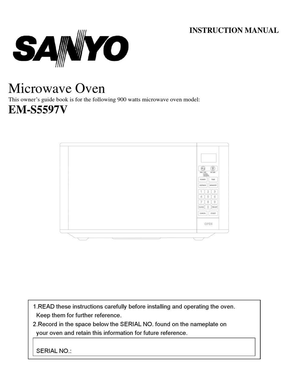 Sanyo Em S5597b Instruction Manual Pdf