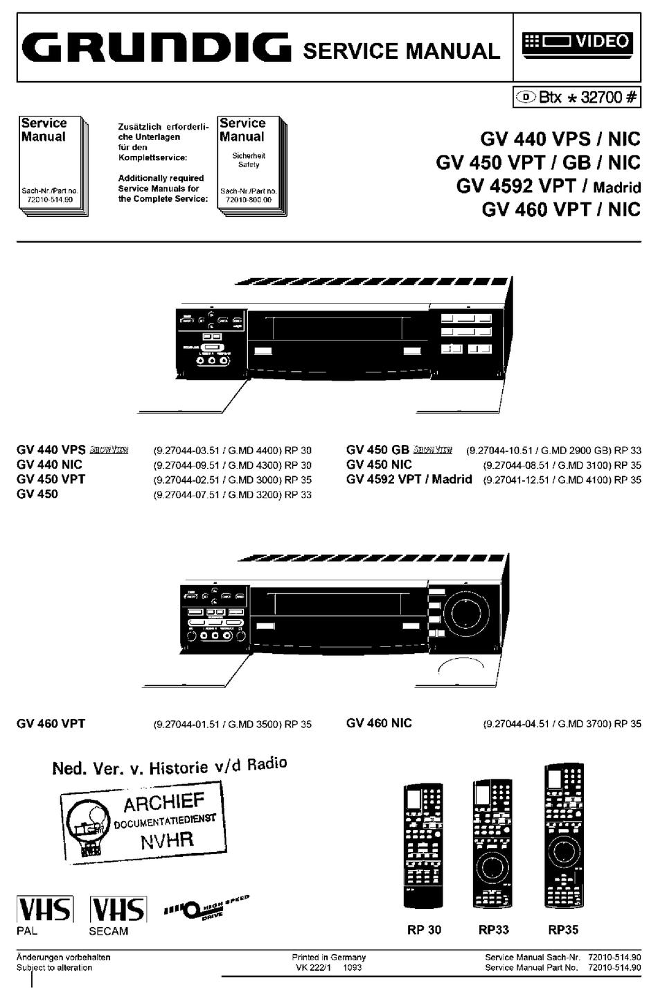GRUNDIG GV 21 VPS SERVICE MANUAL Pdf Download   ManualsLib