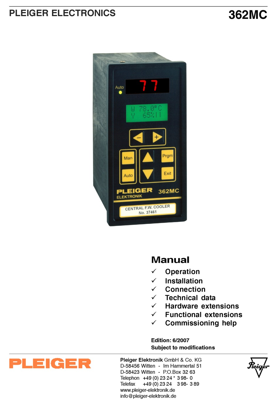 Pleiger elektronik 362mc multi function controller 9362000000