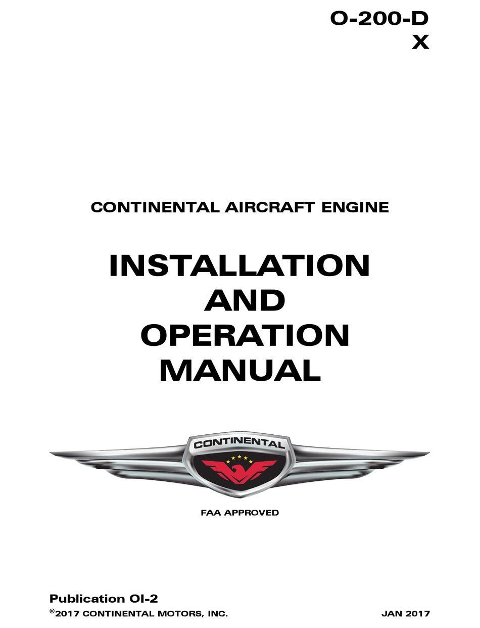 Continental Motors O 200 D Installation And Operation Manual Pdf Download Manualslib
