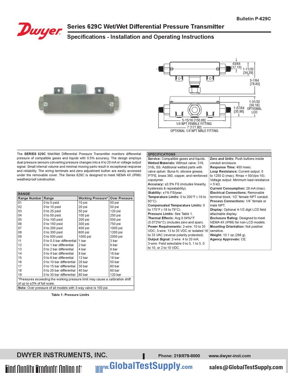 629C Pressure Transmitter Dwyer 629C-14-CH-P4-E2-S1