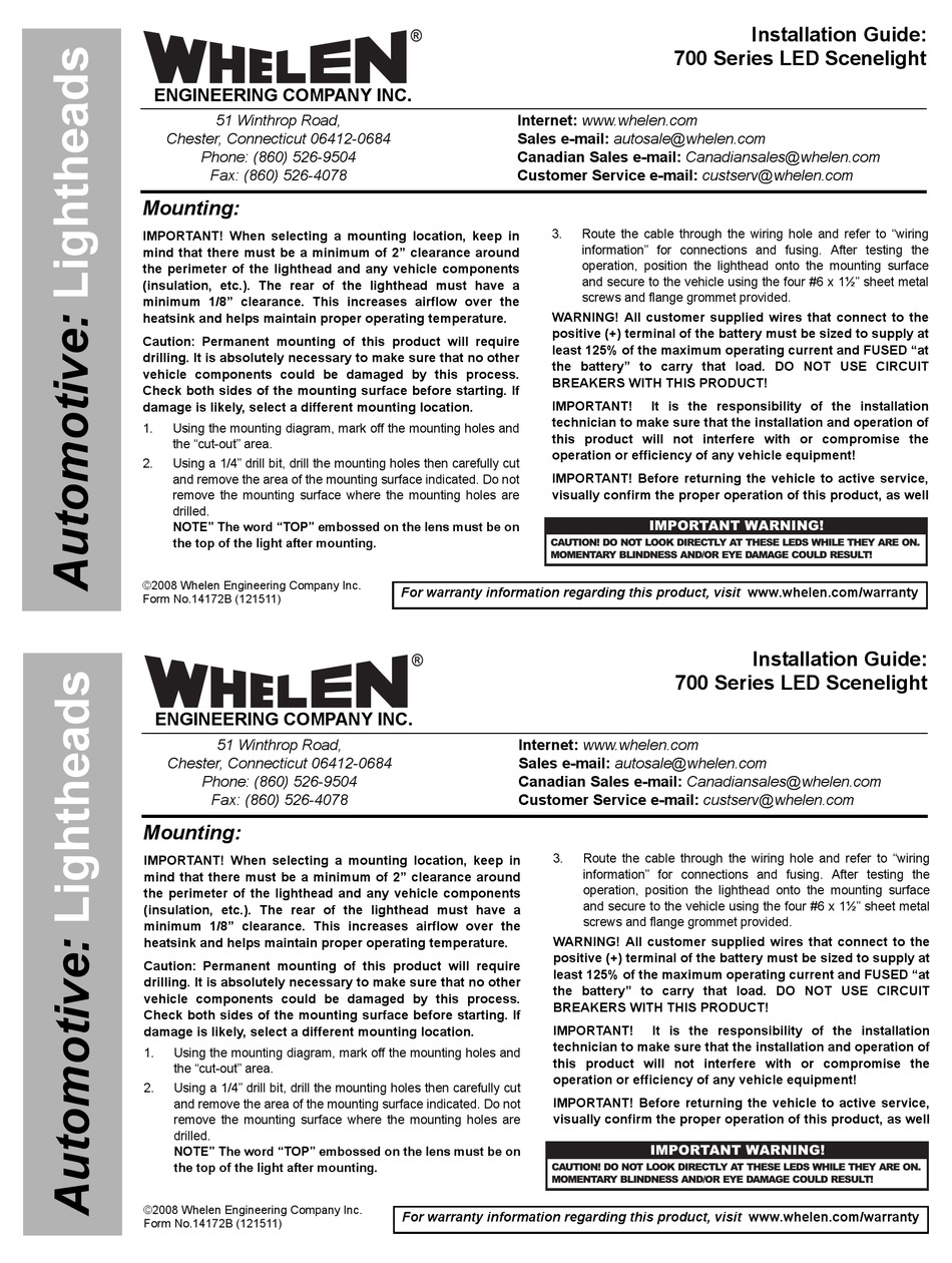Whelen Engineering Company 700 Series