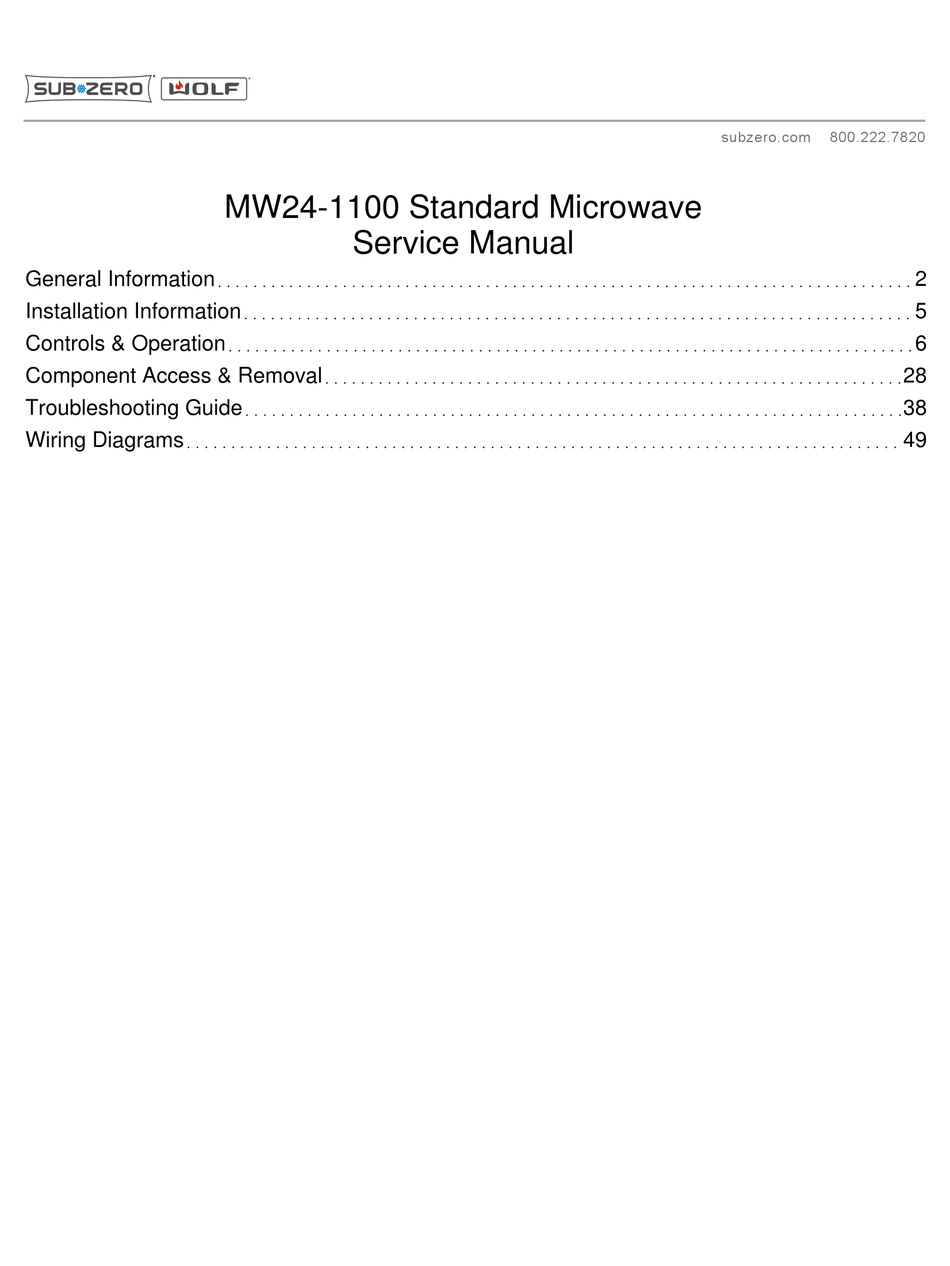 Microwave Oven WOLF MW24-1100 Service Manual | Wolf Microwave Wiring Diagram |  | ManualsLib