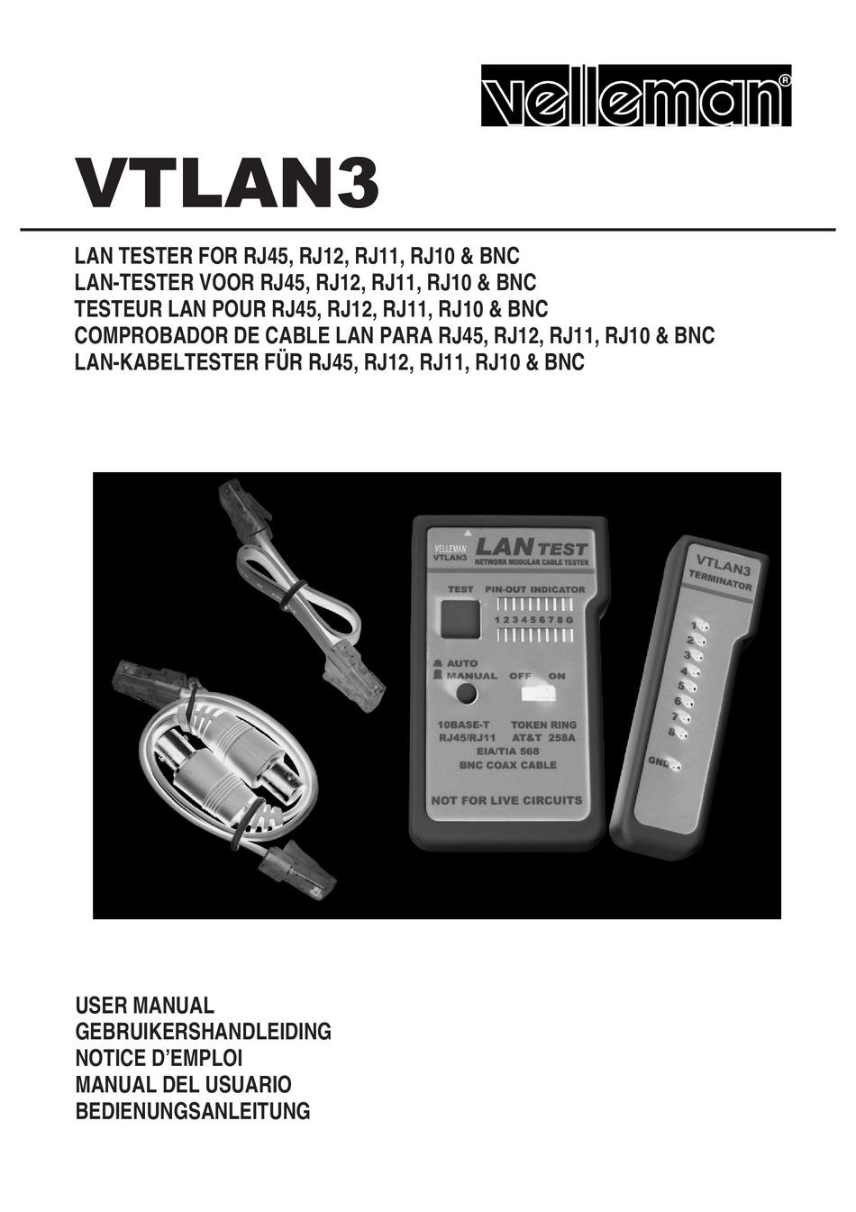 Velleman VTLAN3 LAN Tester for Rj45 /& Bnc