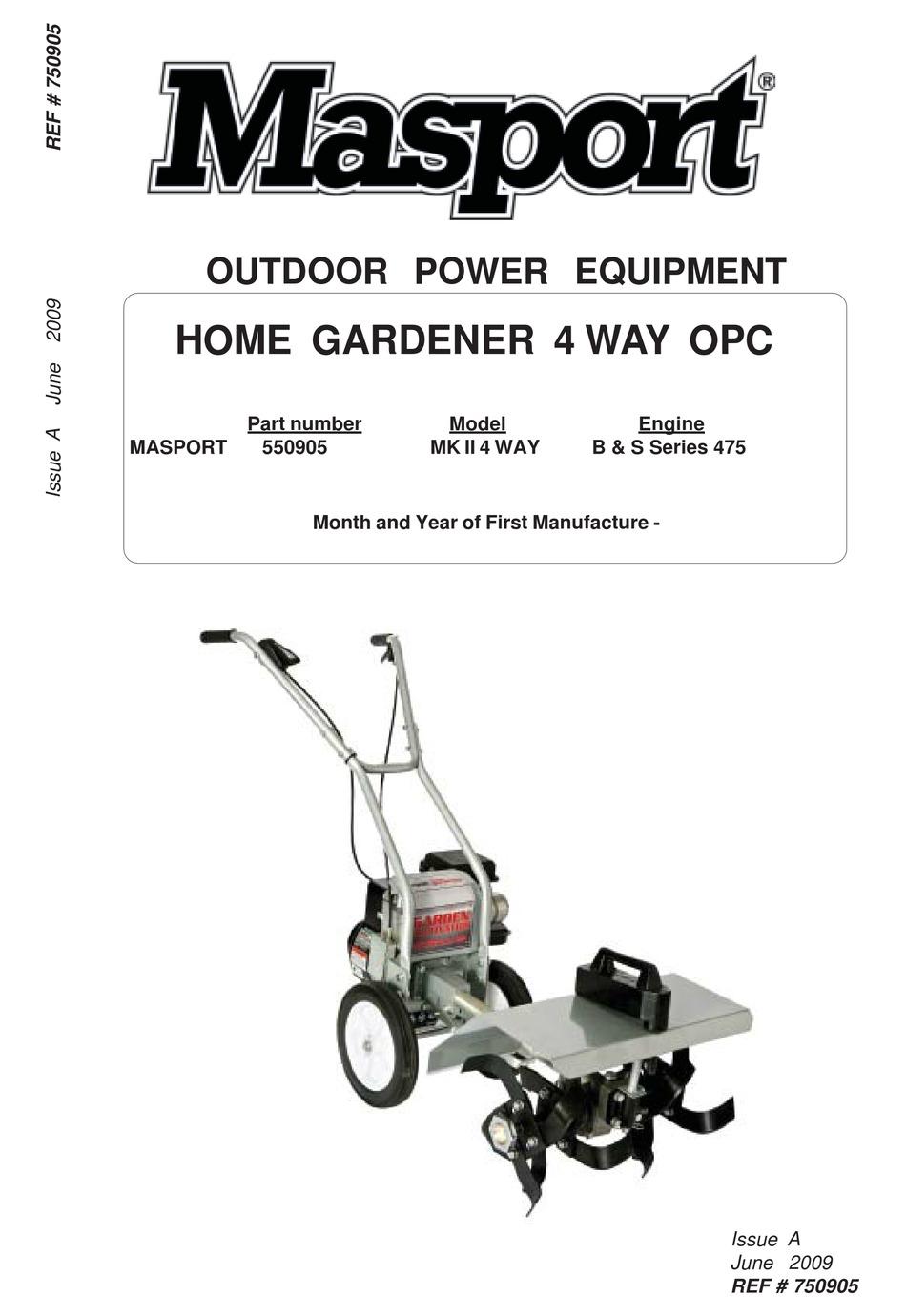 masport mk ii 4 way - Masport 4 Way Home Gardener Manual