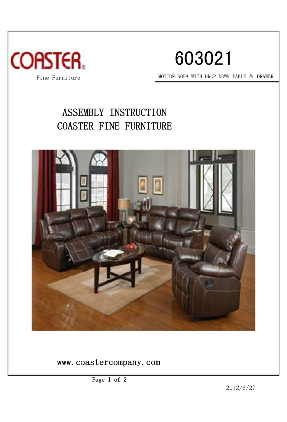 Coaster Company Furniture Assembly Instructions