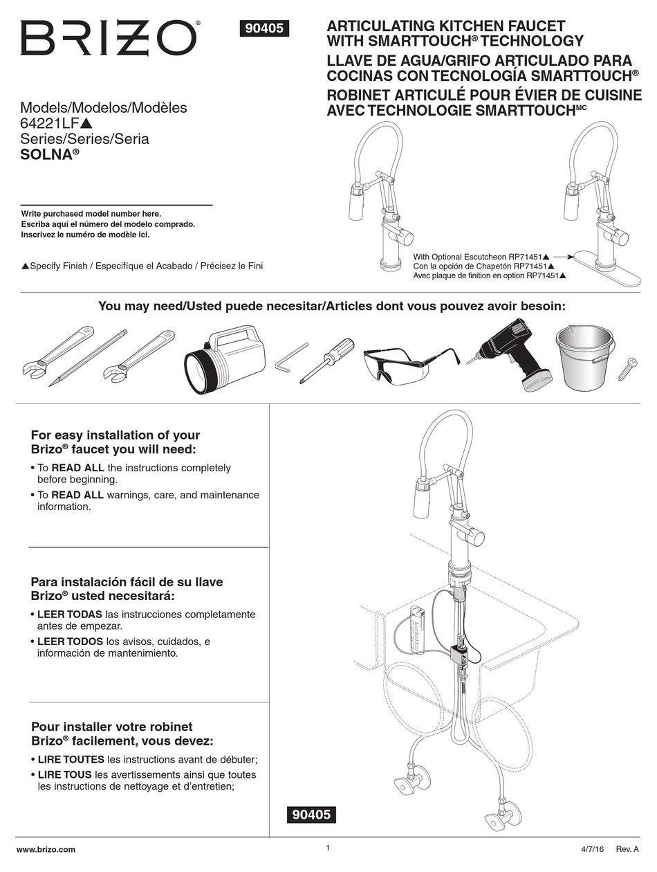 Brizo Solna 64221lf Installation Instructions Manual Pdf Download Manualslib