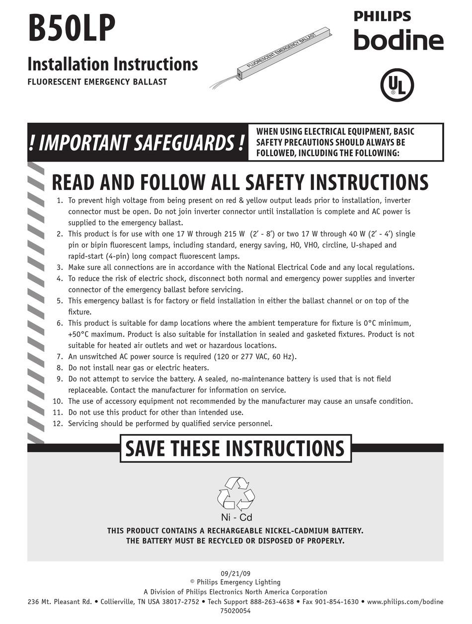PHILIPS B50LP INSTALLATION INSTRUCTIONS Pdf Download | ManualsLibManualsLib