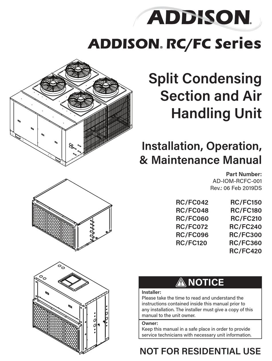 ADDISON RC/FC SERIES INSTALLATION OPERATION & MAINTENANCE Pdf Download    ManualsLib   Addison Heat Pump Wiring Diagram      ManualsLib