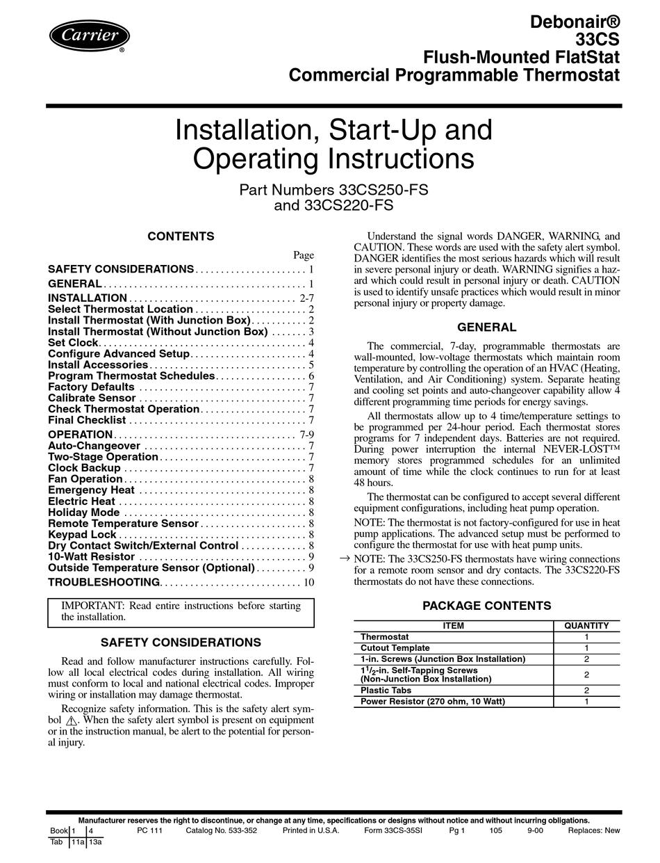 Carrier Debonair 33cs Installation Start Up And Operating Instructions Manual Pdf Download Manualslib