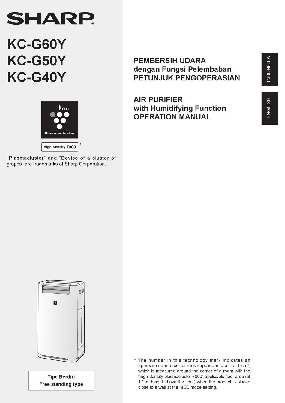 Sharp Kc G60y Operation Manual Pdf Download Manualslib