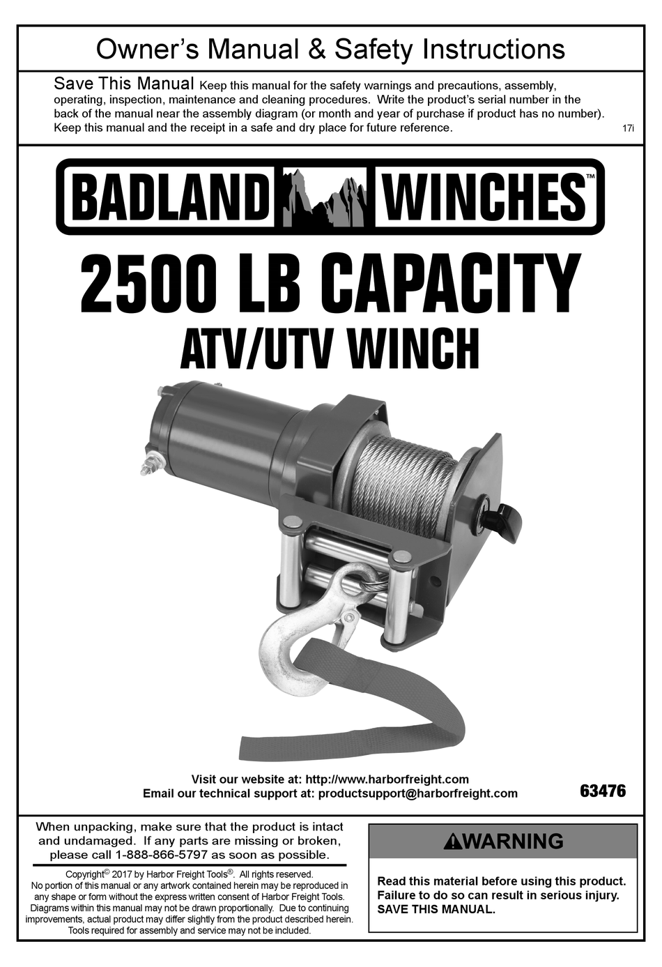 Badland Winches 63476 Owner S Manual Pdf Download Manualslib