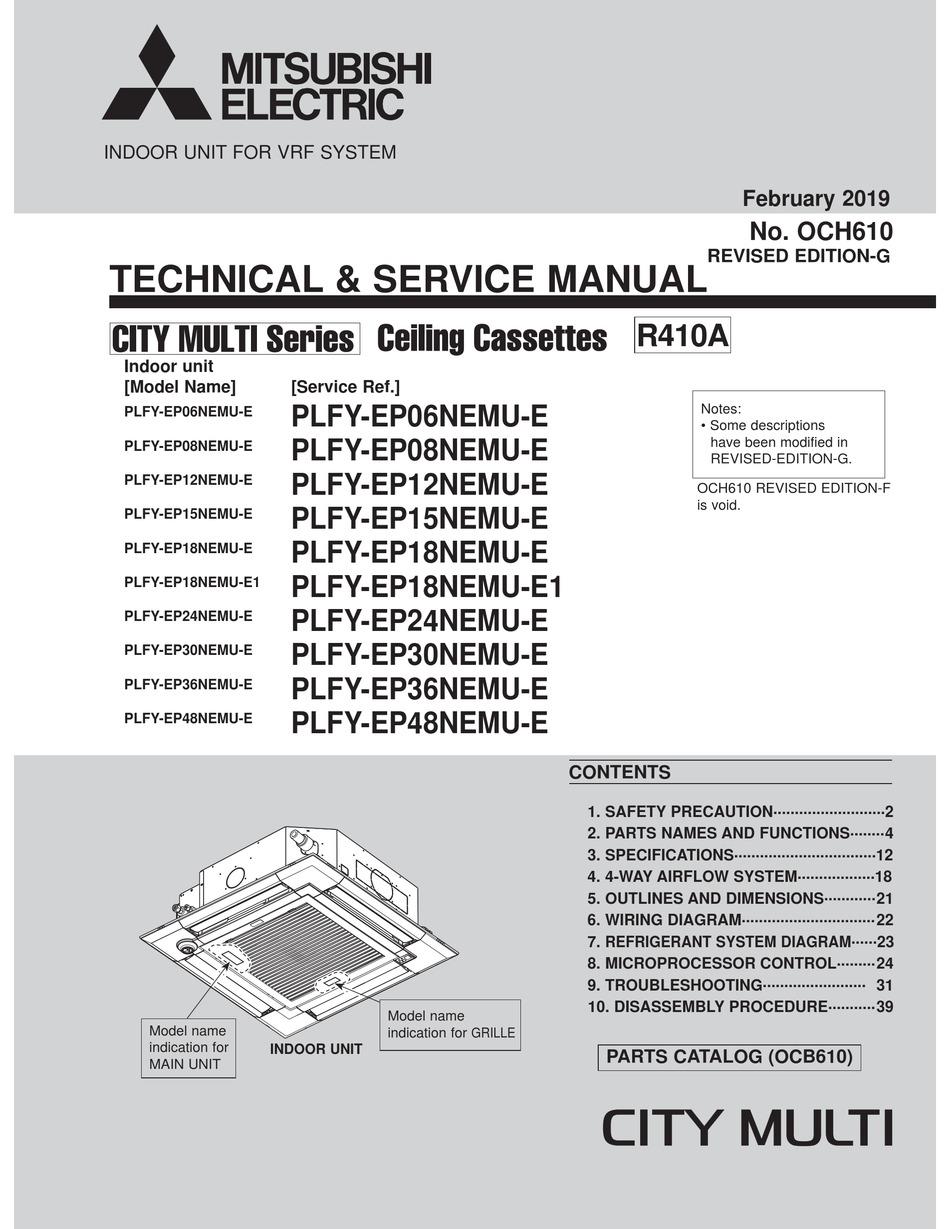 Mitsubishi Electric City Multi Series Technical Service Manual Pdf Download Manualslib