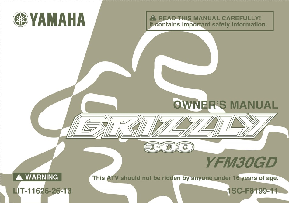 Yamaha Grizzly 300 Owner S Manual Pdf Download Manualslib