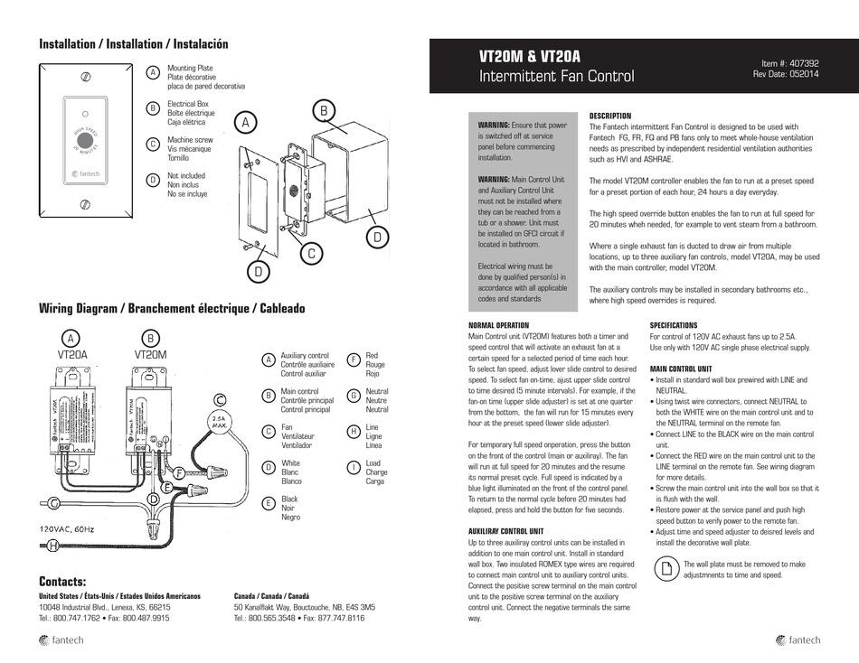 fantech vt20m installation pdf download  manualslib