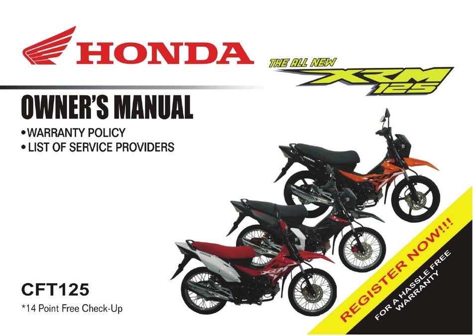 Honda Xrm125 2018 Owner S Manual Pdf Download Manualslib