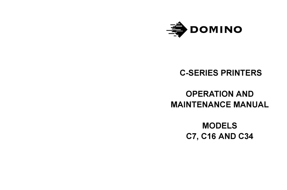 Domino C Series Operation And Maintenance Manual Pdf Download Manualslib