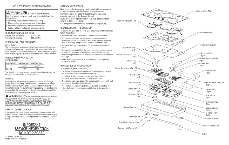 GE PROFILE PHP9036 OWNER'S MANUAL Pdf Download   ManualsLib   Ge Induction Cooktop Schematic      ManualsLib
