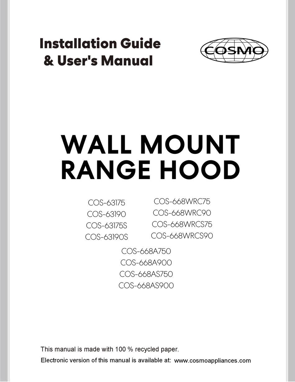 Cosmo Cos 63175 Installation Manual User Manual Pdf Download Manualslib