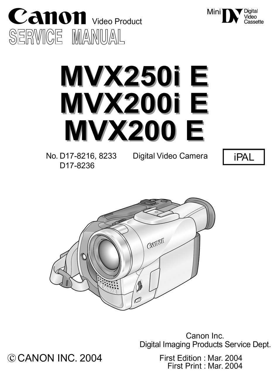 Canon Mvx200 E Service Manual Pdf Download Manualslib