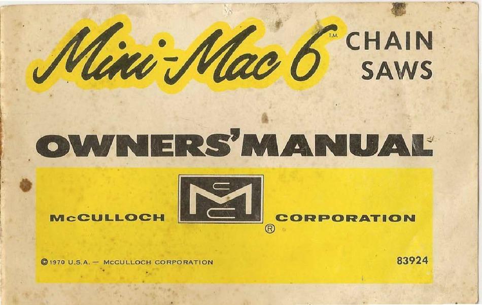 Mccullion Mini Mac 160s Chainsaw Manual