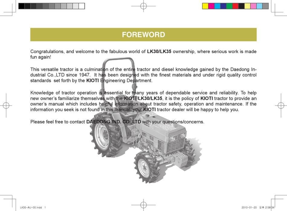 Kioti Lk30 Manual Pdf Download Manualslib