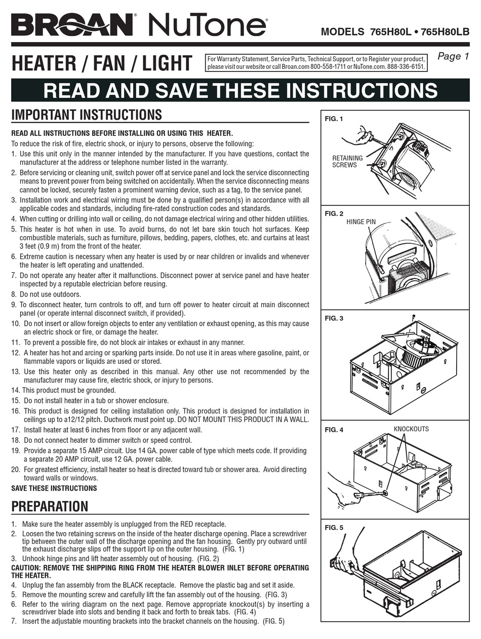 NUTONE 765H80L INSTRUCTIONS MANUAL Pdf Download | ManualsLibManualsLib