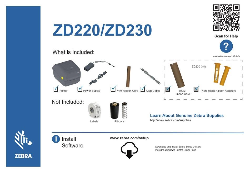 ZEBRA ZD220 QUICK START MANUAL Pdf Download   ManualsLib