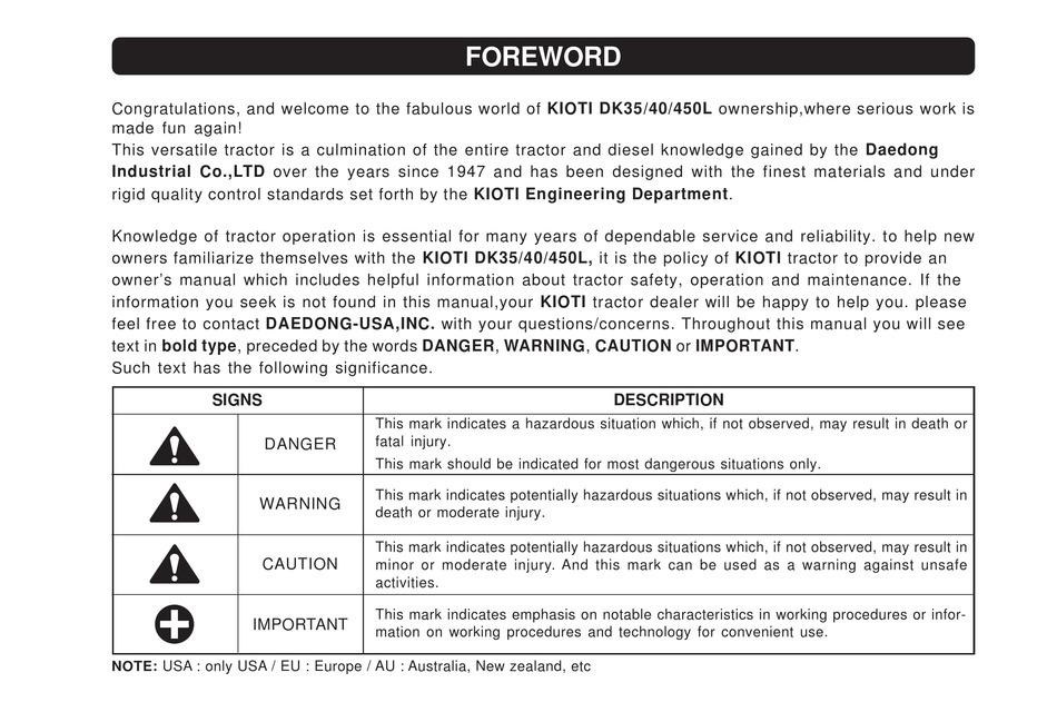 Kioti Dk35 Manual Pdf Download Manualslib