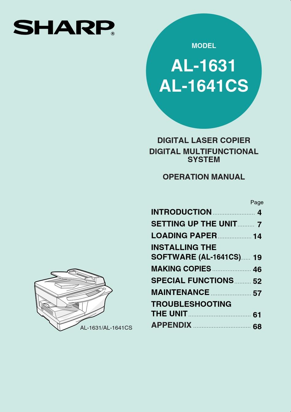 SHARP AL 1631 OPERATION MANUAL Pdf Download ManualsLib