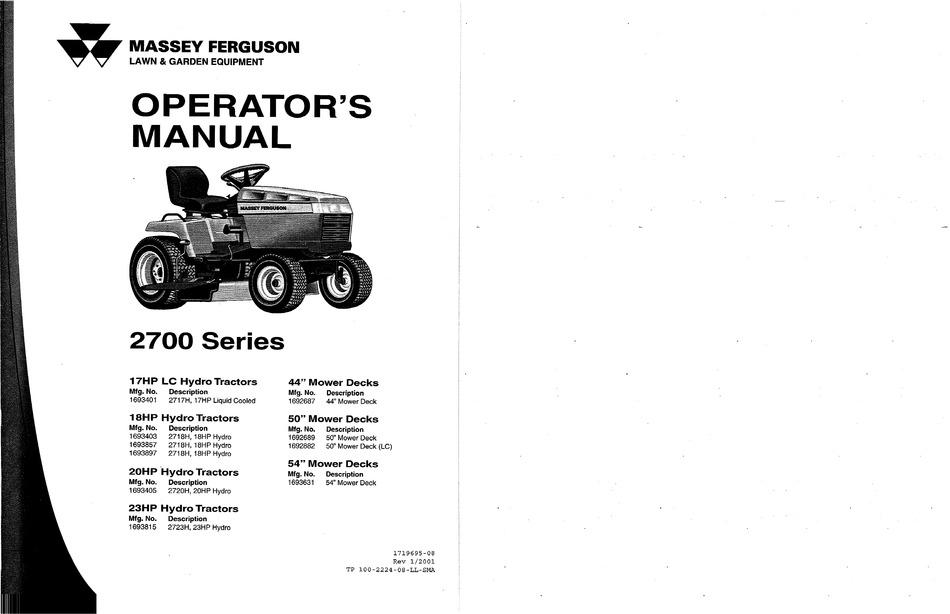 Massey Ferguson 2700 Series Operator S Manual Pdf Download Manualslib