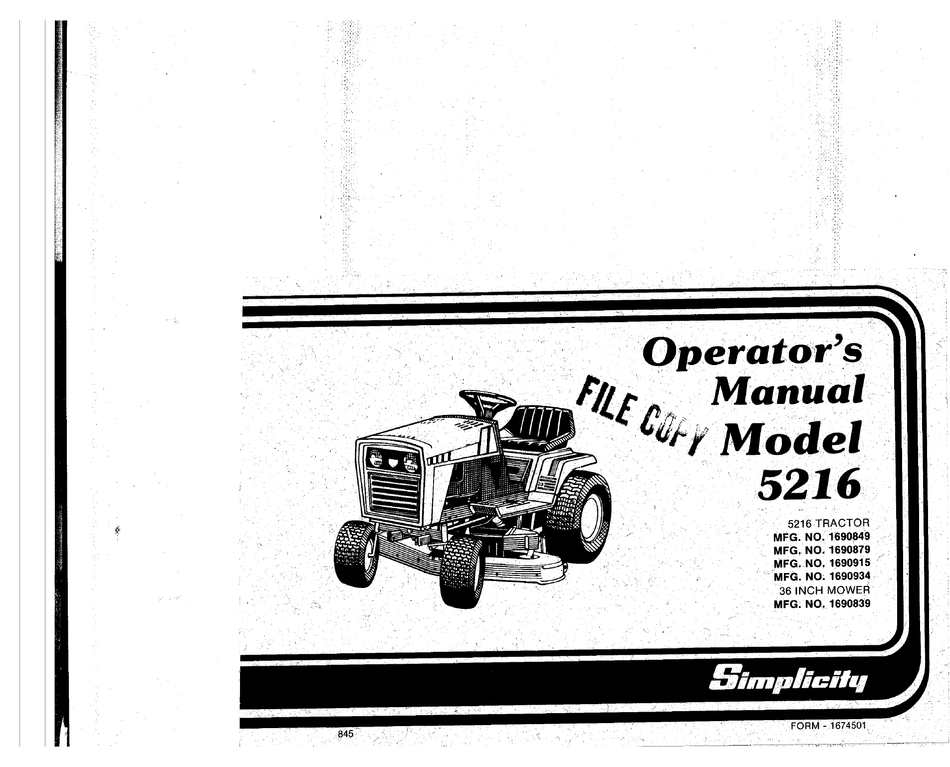 IT Shop 6216 Lawn and Garden Tractor Service Manual Simplicity ...