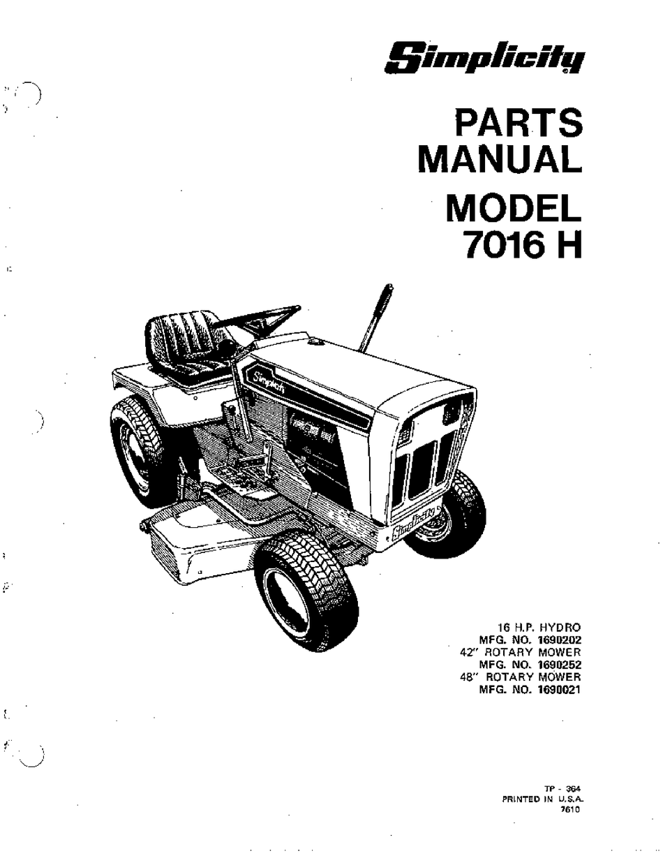 simplicity 7016 h parts manual pdf download | manualslib  manualslib