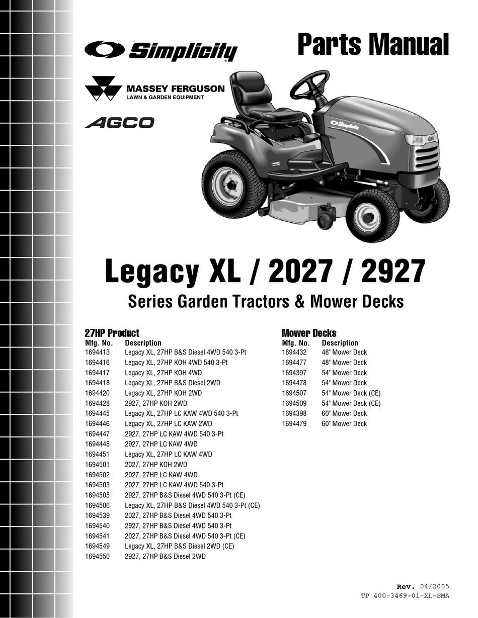 SIMPLICITY LEGACY XL 2927 SERIES PARTS MANUAL Pdf Download | ManualsLibManualsLib