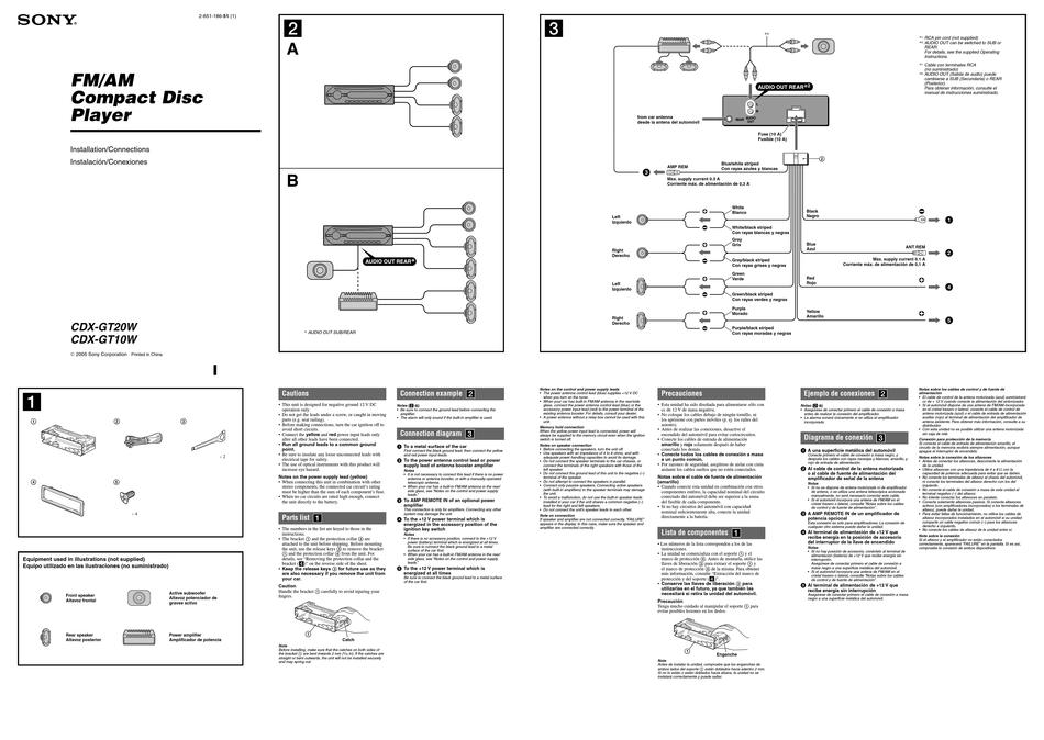 Sony Wiring Diagram Cdx Gt10w