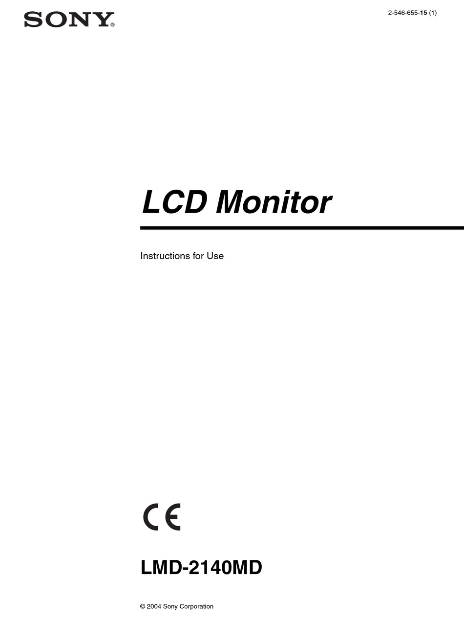 Sony Lmd 2140md Instructions For Use Manual Pdf Download Manualslib