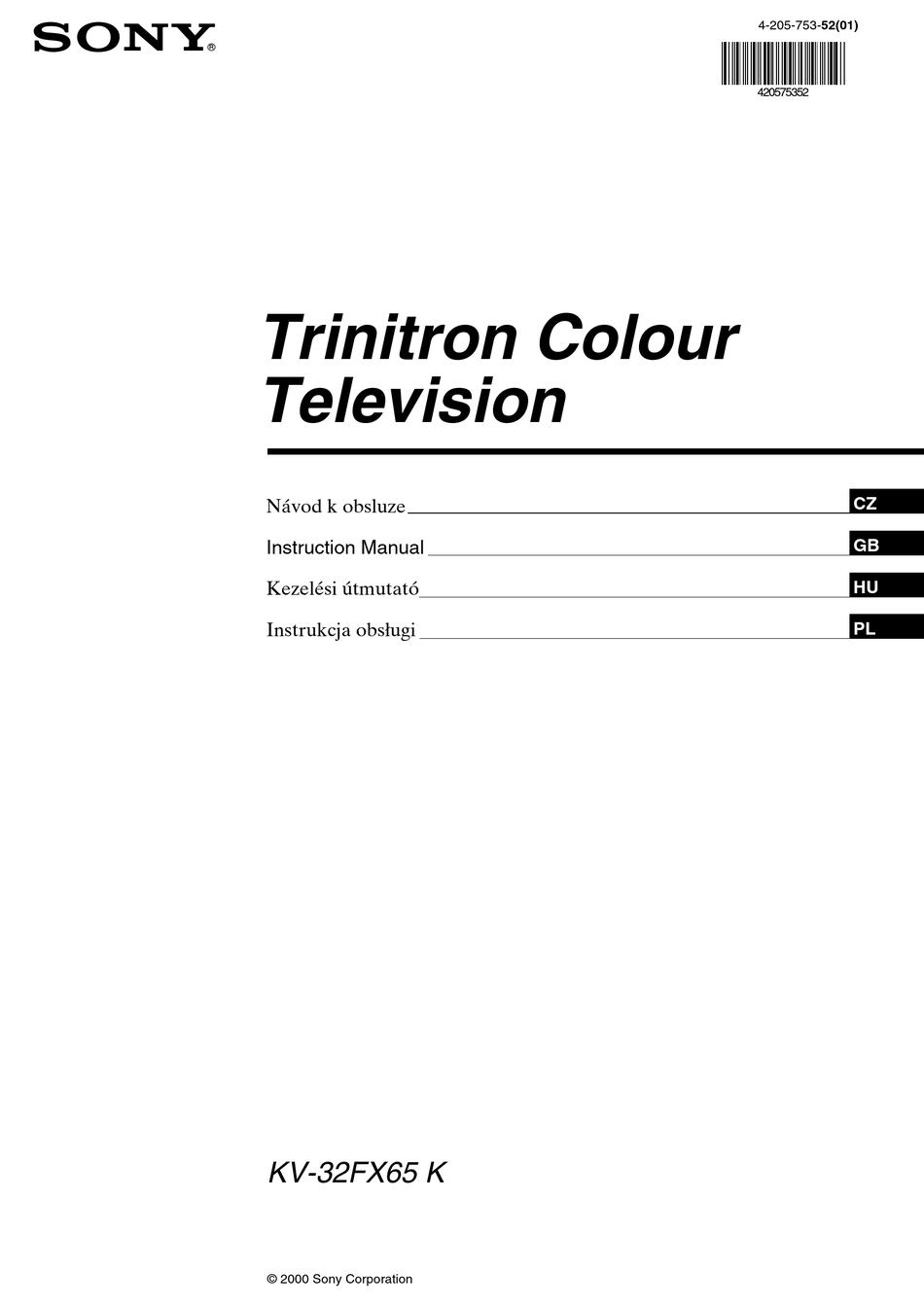 Sony Fd Trinitron Kv 32fx65 K Instruction Manual Pdf Download Manualslib