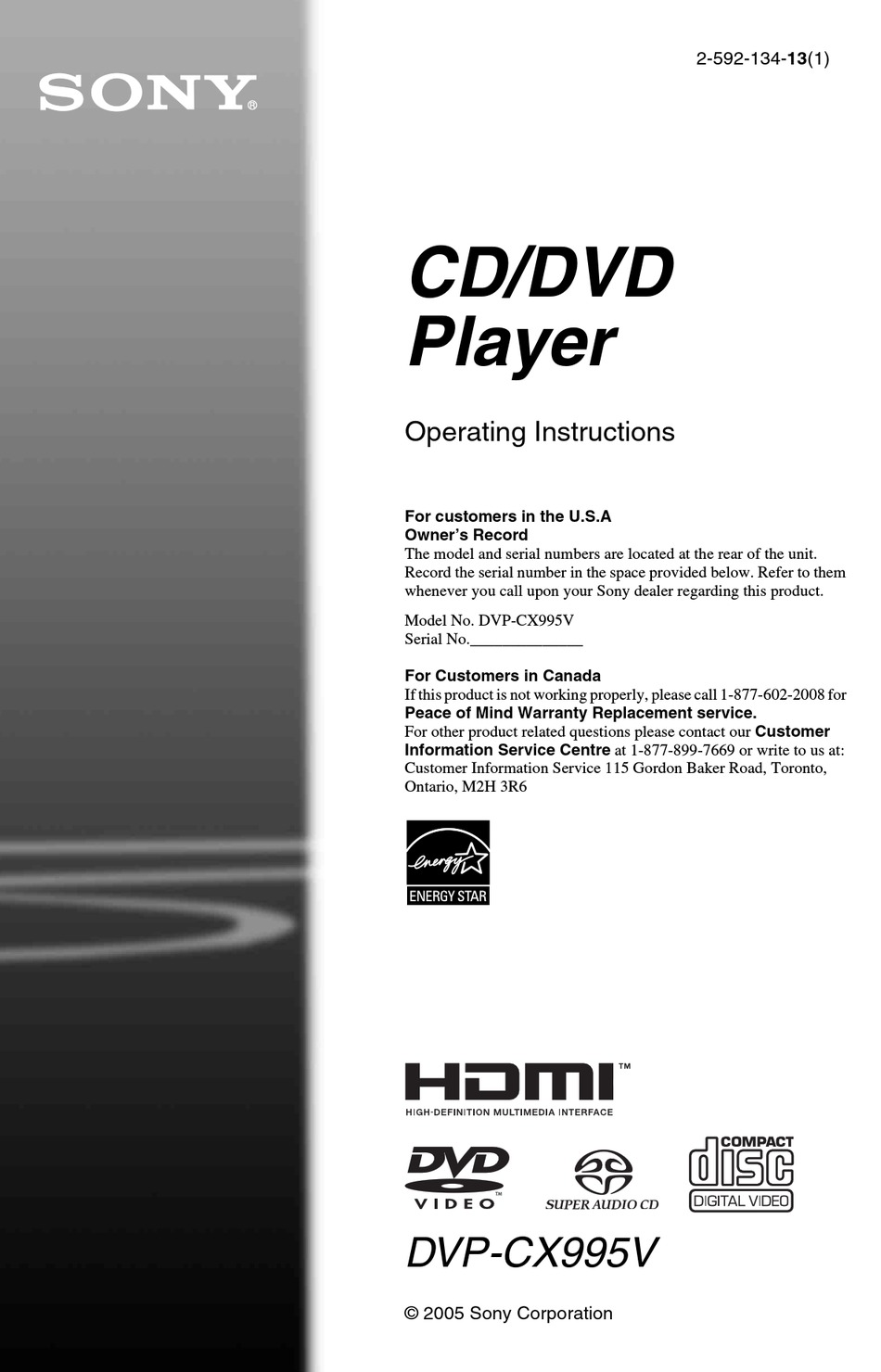 Sony Dvp Cx995v Operating Instructions Dvp Cx995v Cd Dvd Player Operating Instructions Manual Pdf Download Manualslib