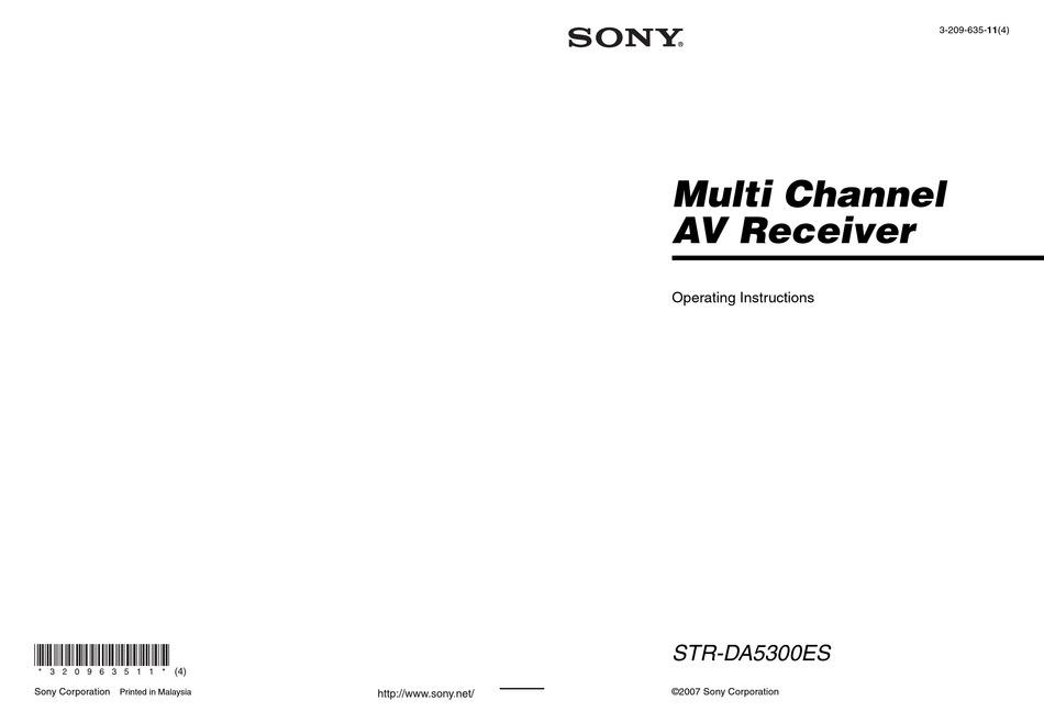 Sony Str Da5300es Operating Instructions Manual Pdf Download Manualslib