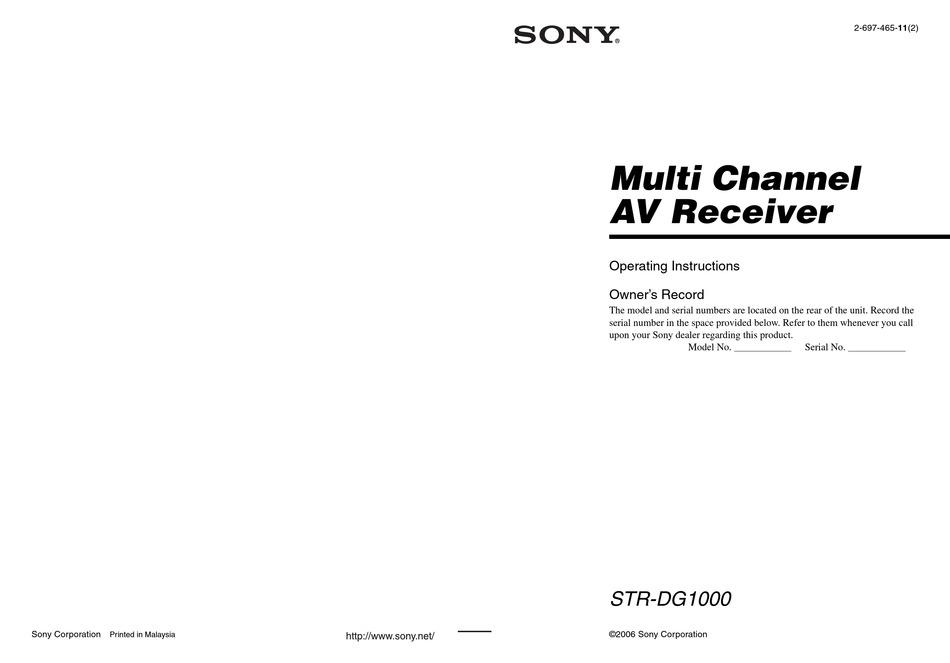 Sony Str Dg1000 Operating Instructions Manual Pdf Download Manualslib