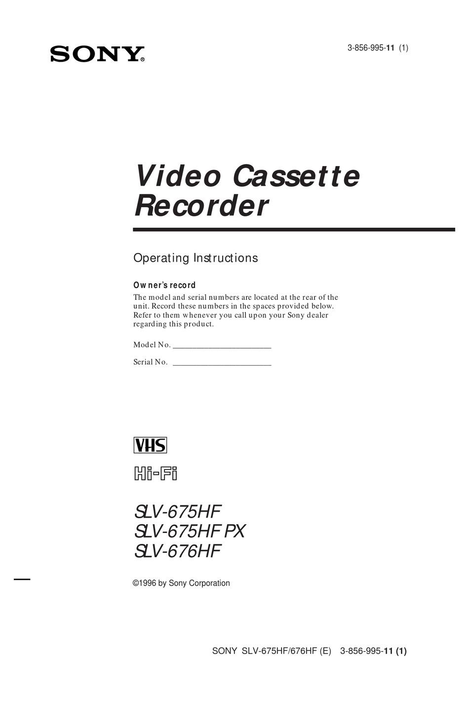 Sony Slv 675hf Px Operating Instructions Manual Pdf Download Manualslib