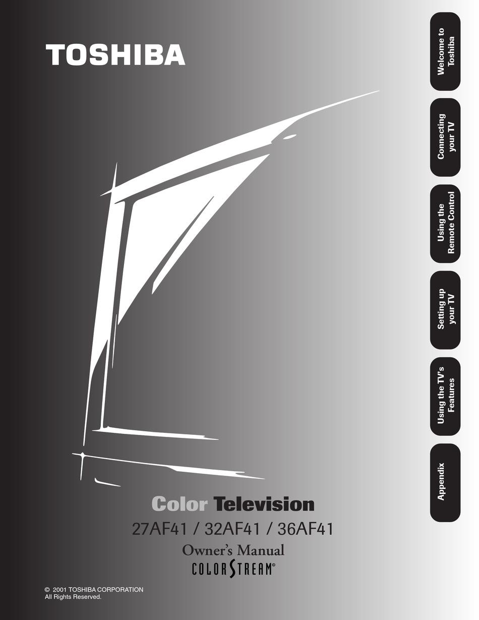 Toshiba 27af41 Owner S Manual Pdf Download Manualslib