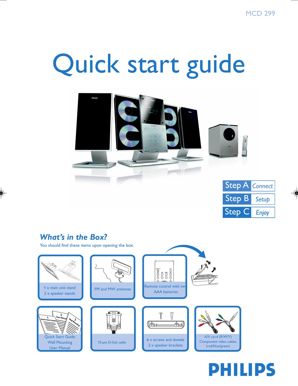 Philips Mcd299 98 Quick Start Manual Pdf Download Manualslib