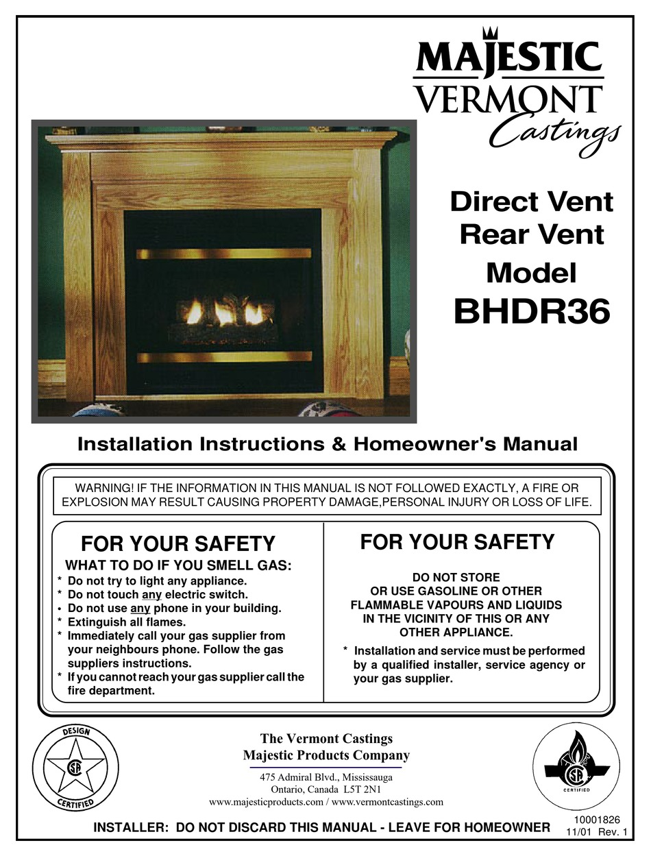 Vermont Castings Bhdr36 Rn Installation Instructions Homeowner S Manual Pdf Download Manualslib