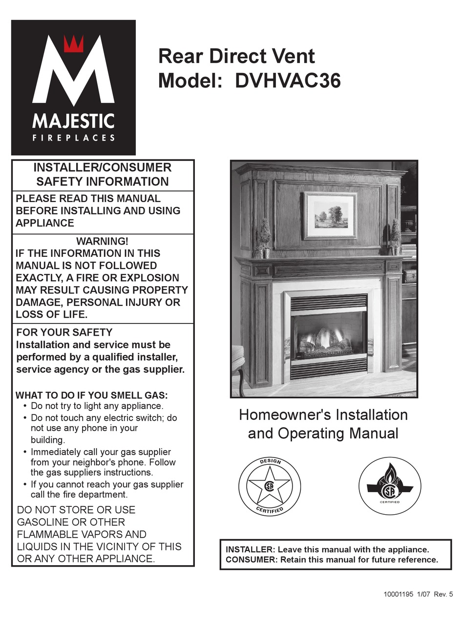 Majestic Fireplaces Dvhvac36 Homeowner S Installation And Operating Manual Pdf Download Manualslib