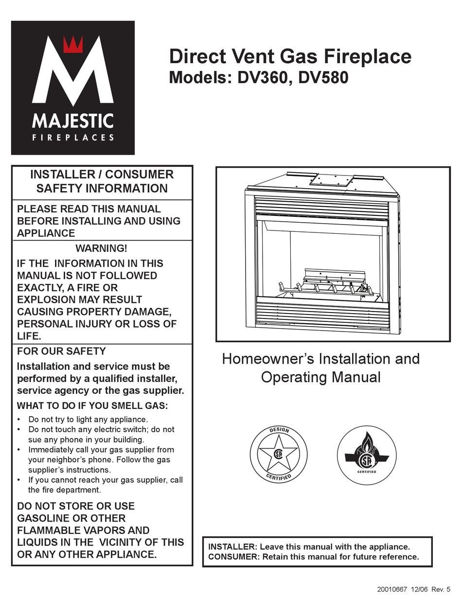 Majestic Fireplaces Dv580 Dv360 Installation And Operating Manual Pdf Download Manualslib